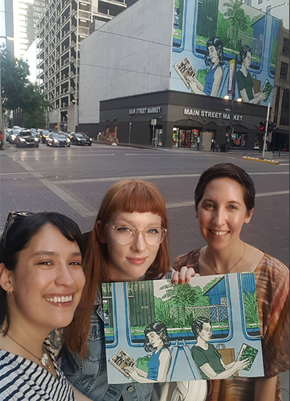 Sarah Welch, center, with María-Elisa Heg, left, and Anastasia Kirages, right.