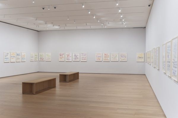 Installation view of Roni Horn: When I Breathe, I Draw, Part II on view June 8–September 1, 2019 at the Menil Drawing Institute
