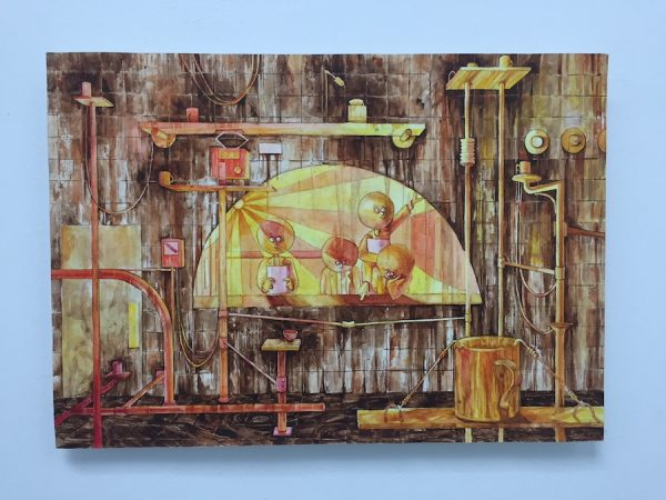 Cody Ledvina, Coffee Shaking Machine Lab, 2018. Watercolor on paper