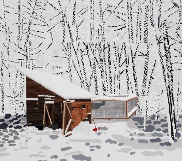 Jonas Wood, Snowscape with Barn, 2017