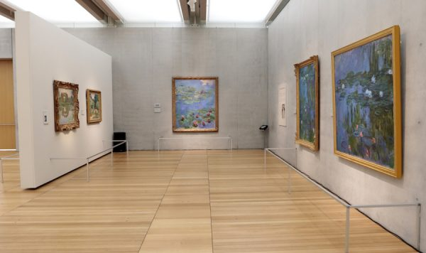 Installation view of Monet: The Later Years at the Kimbell Art Museum in Fort Worth