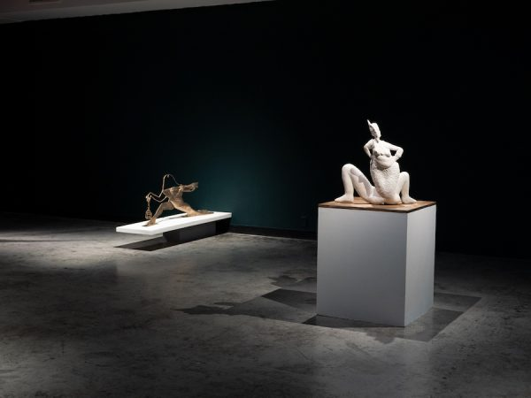 "(L) Shana Hoehn, Cadillac Goddess and Paper Doll creeping, 2019, bronze, 48"" x 20"" x 4""; (R) Shana Hoehn, Obscene Songs [siren and Baubo], 2019"