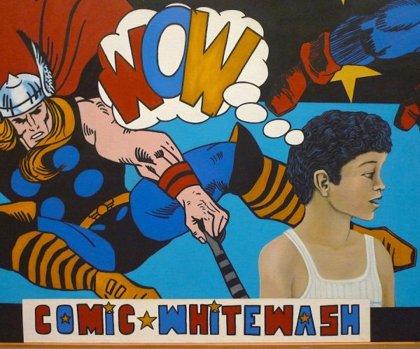Mel Casas, Humanscape 70 (Comic Whitewash), (detail of Thor and Chicano boy with thought bubble)
