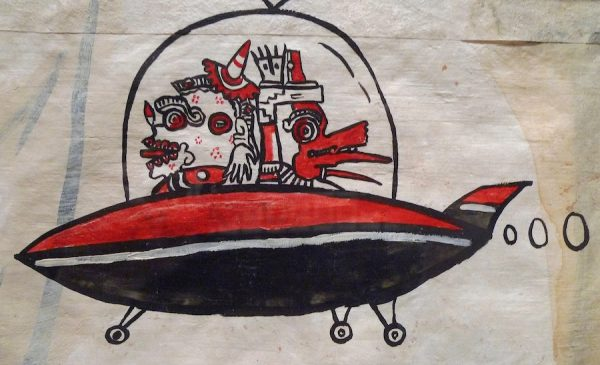 Enrique Chagoya, Crossing 1, detail of flying saucer