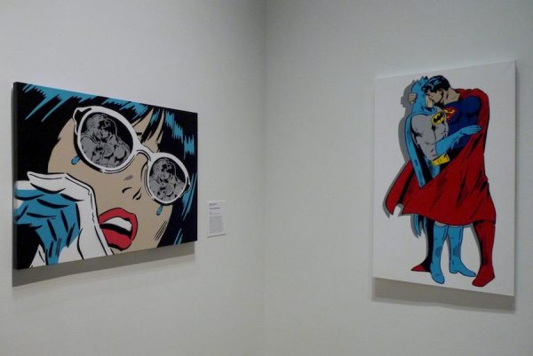 Rich Simmons, Chrome Reflections, 2016, and Between the Capes, 2014, both mixed media