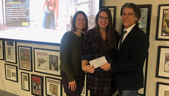 Amy-Beth-Wright-receives-a-check-from-the-Wendy-Wagner-Foundation