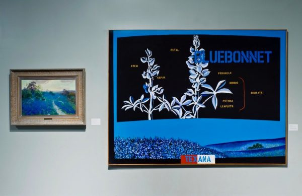 Mel Casas' 1969 acrylic, Humanscape #57 (right), a scientifically pop take on the state's bluebonnet art, is neighbors with Julian Onderdonk's 1912 oil painting Bluebonnet Field (left).