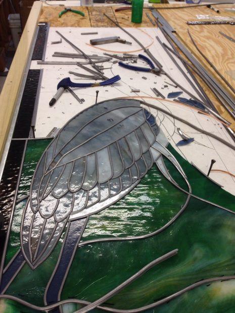 Photo of work in progress at Grojean Glass Studio