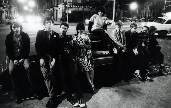 Kids outside CBGB at Bleecker and Bowery, NYC, 1978. Photo: GODLIS