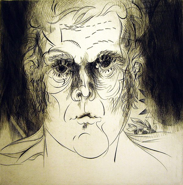 Evan Lindquist, Self Portrait , 1979; Engraving