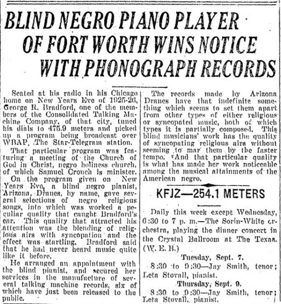 This uncommon report on Arizona Dranes appeared in the Fort Worth Star-Telegram circa 1926.