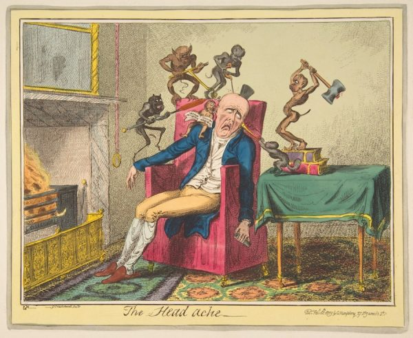 George Cruikshank (British, London 1792–1878 London), after Captain Frederick Marryat (British, 1792–1848), The Head ache, February 12, 1819