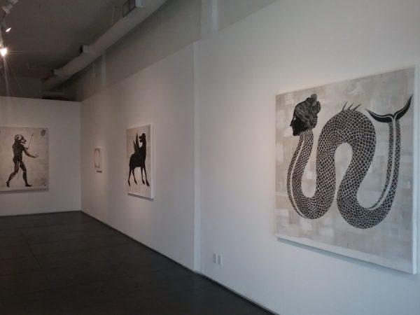 """Installation view of Matt Messinger's """"Bestiary"""" at Devin Borden Gallery."""
