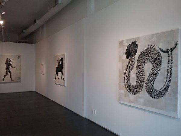 "Installation view of Matt Messinger's ""Bestiary"" at Devin Borden Gallery."