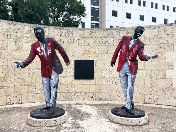 Statue of Four lies by the art guys at the university of Houston