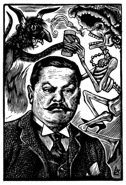 Ángel Zamarripa (1912-1990), Portrait of Posada with Catrina and the Devil, 1952