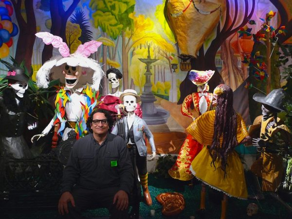 Linares Family, recreation of Rivera's Alameda mural in papier-mâché with Ruben C. Cordova seated in foreground, 2014