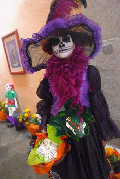 Catrina impersonator, 2009, Museum of the First Printing Press, Mexico City