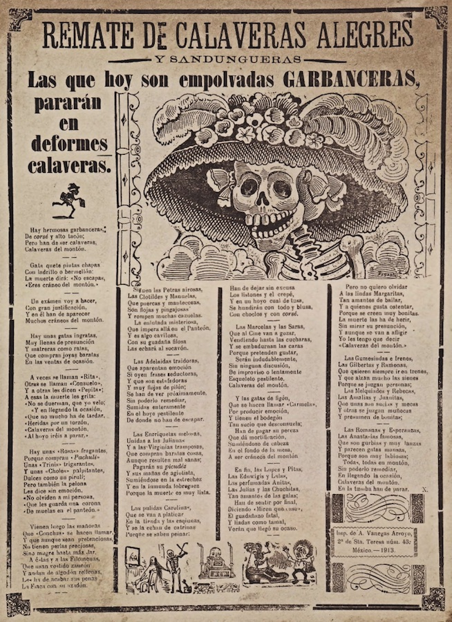 The original La Calavera Catrina is a 1910–1913 zinc etching by the Mexican printmaker, cartoon illustrator and lithographer José Guadalupe Posada