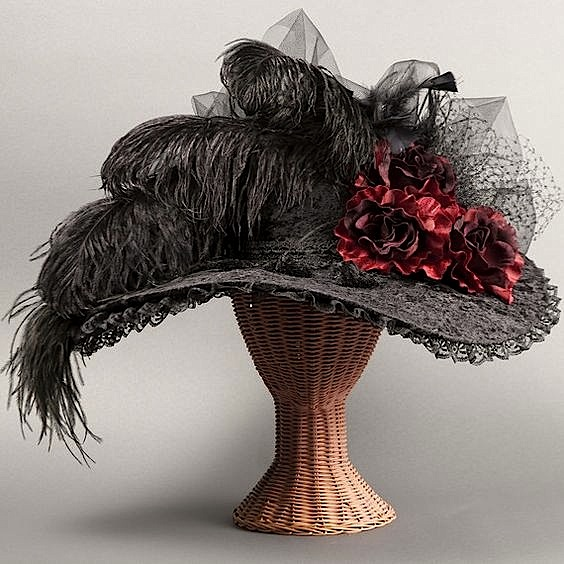 Women's Hat with lace, silk flowers, and ostrich feathers.