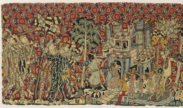 Castle with Moors detail from Wild Men and moors Tapestry