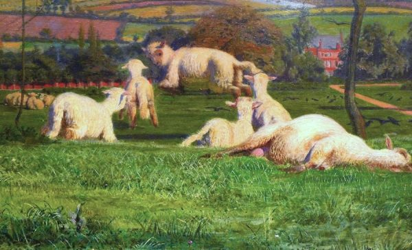 Ford Madox Brown, Pretty Baa-Lambs, 1851-59, oil on wood, detail of sheep