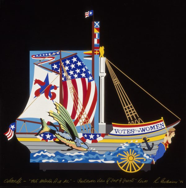 Robert Indiana, Design for starboard view, Ship of State - Bicentennial Procession, in The Mother of Us All, 1976