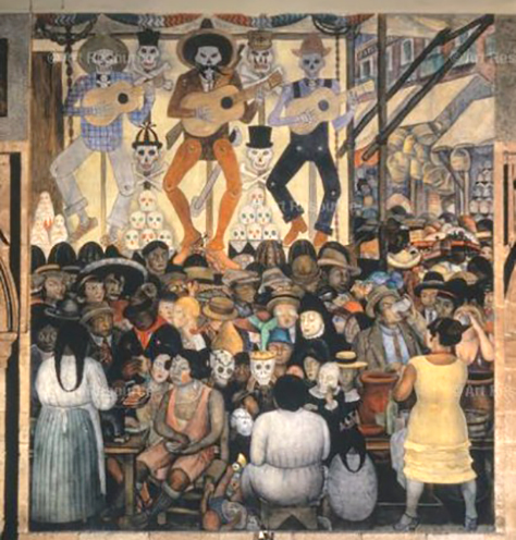 Diego-Rivera-Day-of the-Dead-City-Fiesta-1923-24-mural-Secretaria de Education Publica-Mexico City-Public-Domain-Day-2020