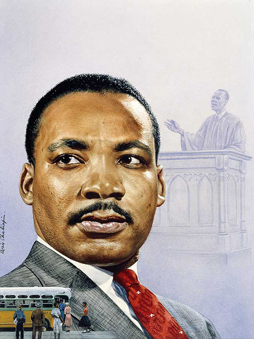 MLK-Day-2020-post-Martin Luther King Jr. by Boris Chaliapin (1904–1979)