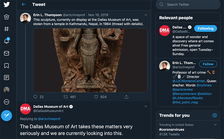 Screenshot of Erin L. Thompson's tweet about a sculpture listed as stolen, which appeared in a Dallas Museum of Art Exhibit.