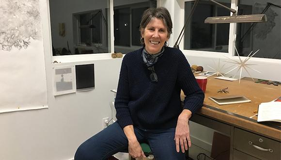 Texas artist Terri Thornton in her Fort Worth studio