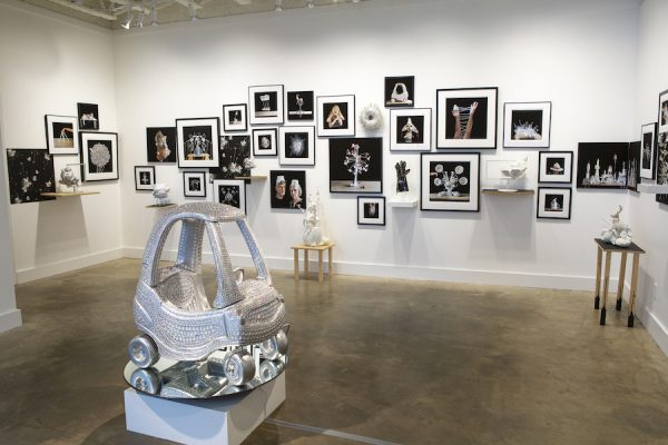 """Installation view of Hillerbrand + Magsamen's """"Devices Then and Now"""" currently up at Heidi Vaughan Fine Art, Houston"""