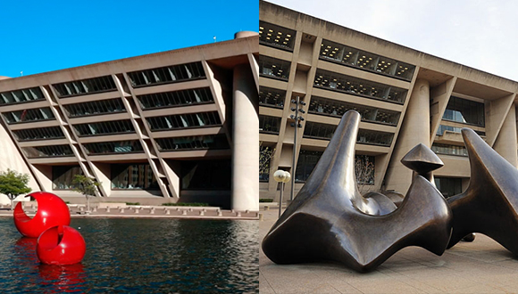 Henry-Moore-Marta Pan-and-I.M.-Pei-At-Dallas-City-Hall-Plaza
