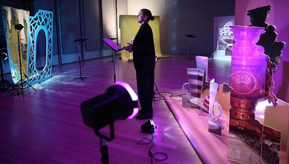 Sahra Motalebi, Directory of Portrayals, 2019. Performance view, Whitney Museum of American Art, New York, NY. Image courtesy Whitney Museum of American Art, New York-copyright-Paula Court.