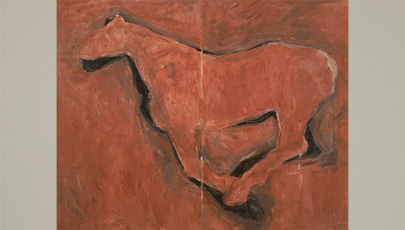 Cabin Fever,Acrylic and tempera on canvas 67 x 84 1:8 inches-Acquired by the Modern Art Museum Fort Worth in 1991