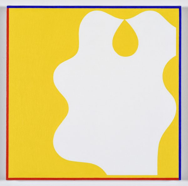 """Cary Smith, """"Shape 7 (yellow with blue-red border)"""" 12x12"""