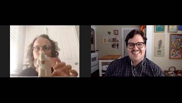 artist Bucky Miller and Brandon Zech from Glasstire