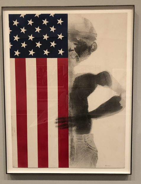 """Boy With Flag,"" Body Print and Silkscreen. David Hammons, American Born, 1943,Private Collection, Courtesy Tilton Gallery,NewYork"