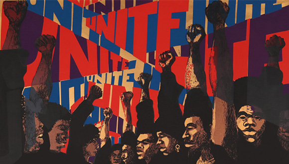Barbara Jones–Hogu (b. 1938), Unite, 1971, screen print, 22 1:2 x 30 in., © Barbara Jones-Hogu, Collection of National Museum of African American History and Culture, Museum purchase, TR2008-24