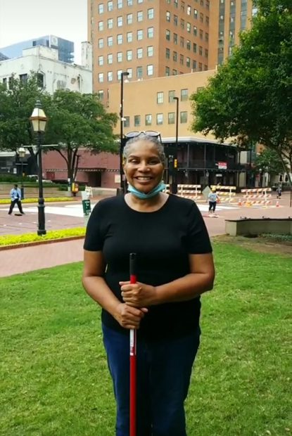 Deborah Peoples, orgainzer of the END RACISM NOW street painting by Sedrick and Letitia Huckaby, June 27, 2020-Via Arts Council of Fort Worth
