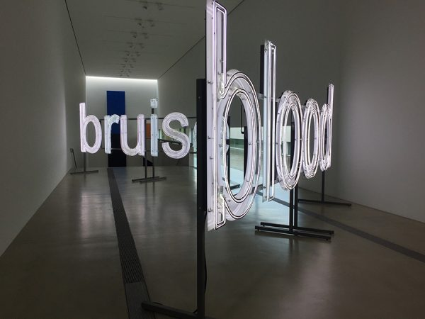"Glenn-Ligon-""blues,"" ""bruise,"" and ""blood."" The work by Glenn Ligon was inspired by a description of police brutality and wrongful conviction"
