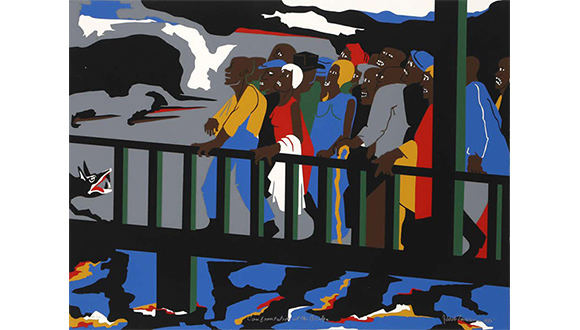 Jacob-Lawrence_Confrontation_at_the_Bridge_1975