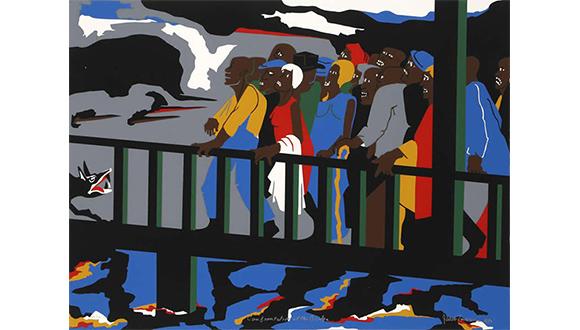 Jacob-Lawrence_Confrontation_at_the_Bridge_1975
