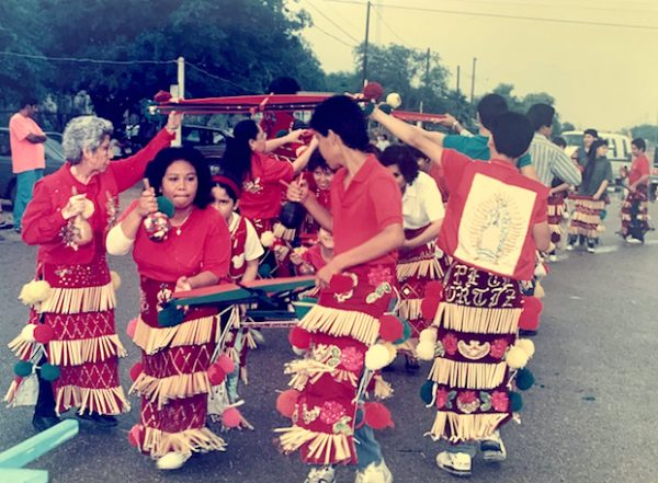 Los Matachines de la Santa Cruz de la Ladrillera dancing at the 1991 Fiesta de la Santa Cruz. Photo courtesy of Norma E. Cantú