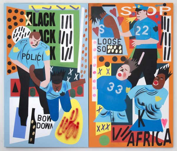 Nina Chanel Abney, What, 2015. Unique ultrachrome pigmented print, acrylic and spray paint on canvas 96 × 112 in 243.8 × 284.5 cm