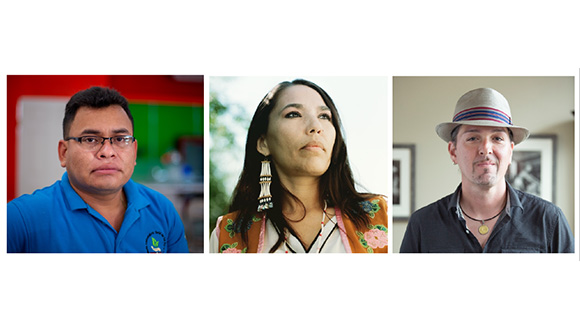 Rothko-Chapel-Óscar Romero Award-reciepients-Gérman Chirinos of Honduras, Bernadette Demientieff of Alaska, and Jorge Díaz of Puerto Rico