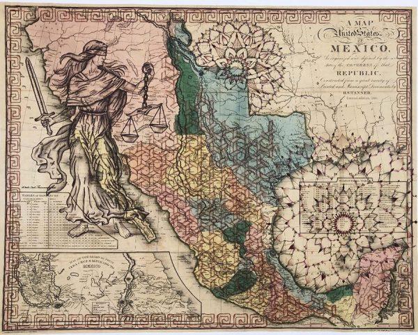 Sarah Ayala, Mexico, 2019, Ink & pencil on map, 26x34
