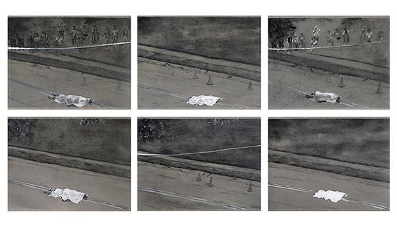 haun Leonardo-Michael Brown (Drawings 1-6) - charcoal on paper, 8.5 x 11 each, 2015