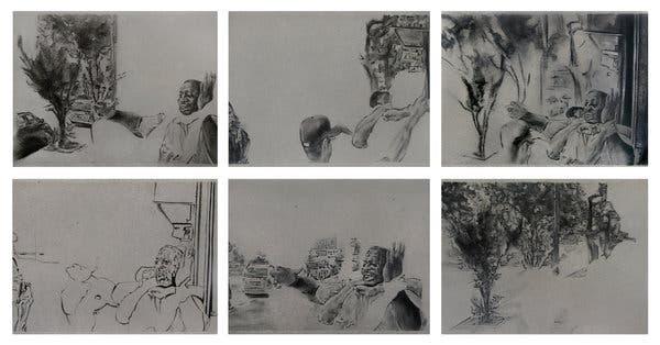 """""""Eric Garner"""" from 2015 (drawings 1-6)-Shaun Leornado"""