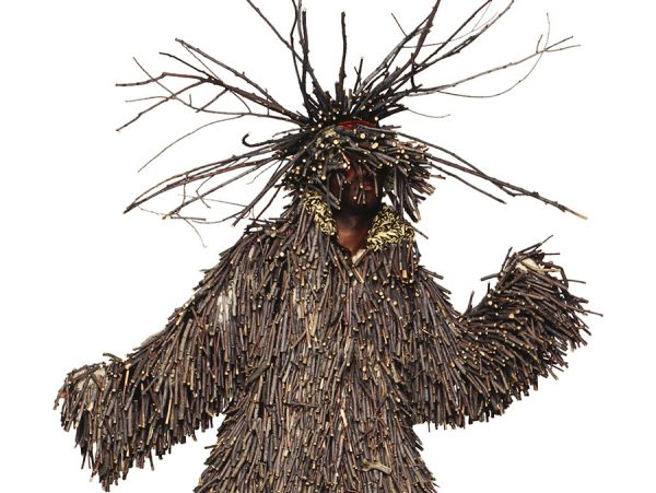 """Detail of """"Untitled"""" (2006) by Nick Cave. This is one of several soundsuits Cave made out of twigs."""